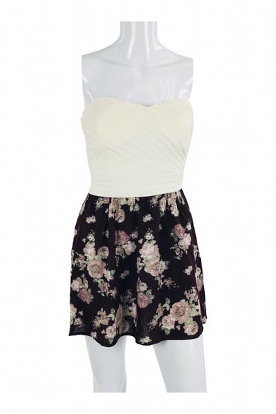 Luna Chix, Women's Black And White Floral Strapless Dress - Size: XS (Regular)
