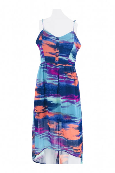 Unbranded, Women's Blue And Multicolored Spaghetti Strap Dress - Size: L (Regular)