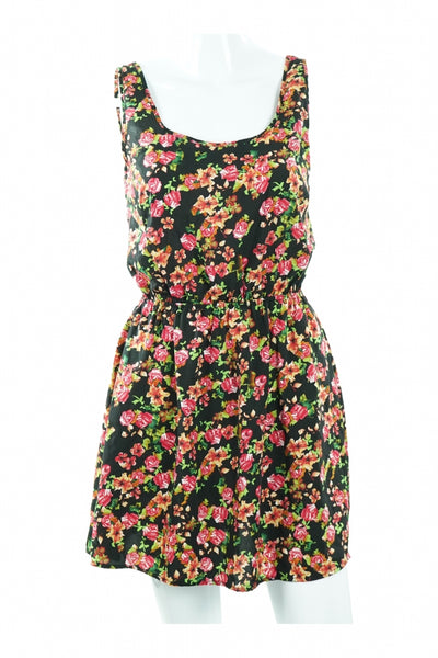 Ambiance Apparel, Women's Black And Pink Floral Tank Dress - Size: S (Regular)