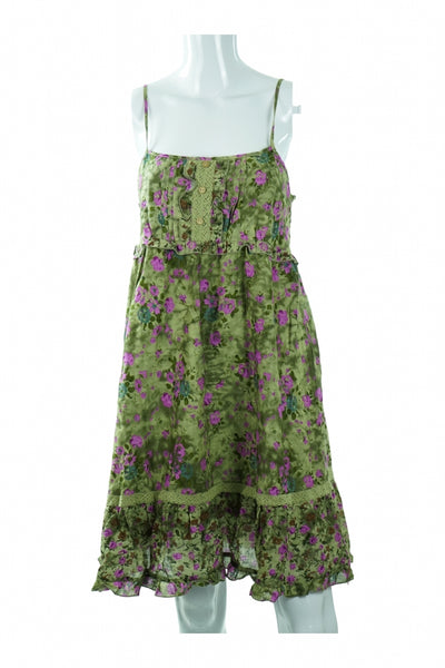 Unbranded, Women's Green And Pink Floral Spaghetti Strap Dress - Size: L (Regular)