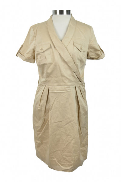 Betsy & Adam, Women's Beige Surplice Neckline Short-sleeved Dress - Size: 10 (Regular)