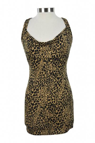 Charlotte Russe, Women's Brown And Black Leopard Skin Print Sleeveless Dress - Size: L (Regular)
