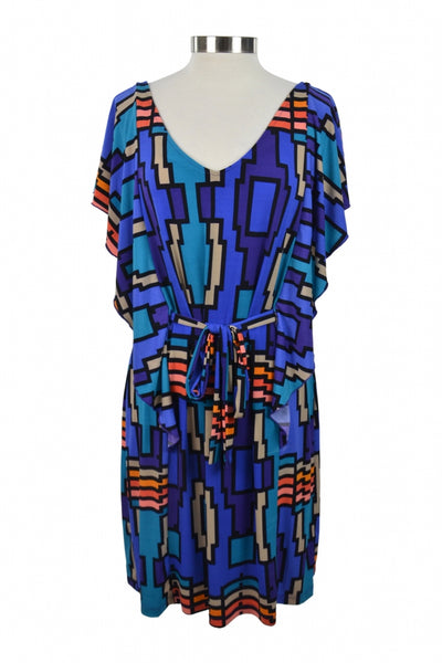 Attention, Women's Multicolored Scoop-neck Cap-sleeved Dress - Size: XL (Regular)