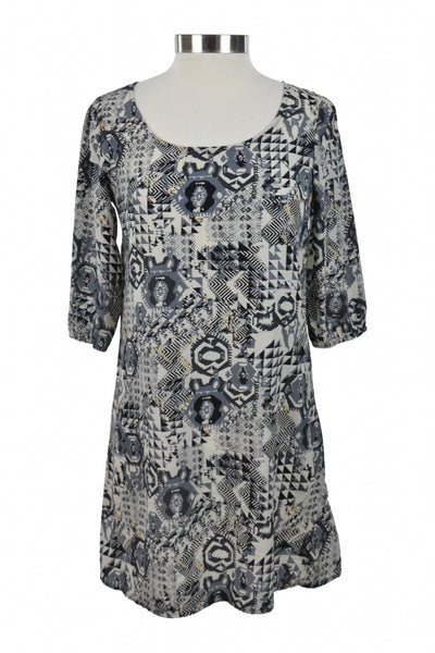 Rue 21, Women's Gray And Black Floral Short-sleeved Dress - Size: M (Regular)