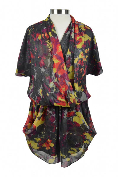 Rachael  Rachael Roy, Women's Black And Pink Floral Surplice-neckline Shirt - Size: M (Regular)