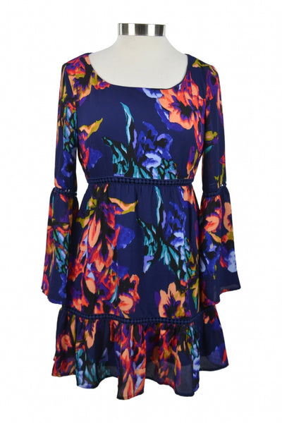 As U Wish, Women's Blue, White, And Pink Floral Boat-neckline Long-sleeved Mini Dress - Size: S (Regular)