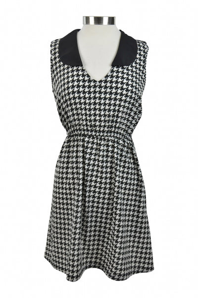 Ardashian Kollection, Women's Black And White Houndstooth Scoop-neck Dress - Size: M (Regular)