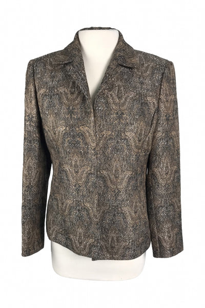 Kasper, Women's Brown And Black Floral Jacket - Size: 8 (Petite)
