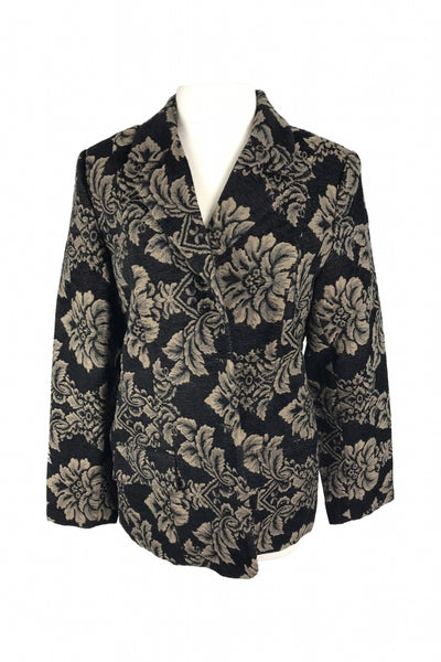 Denim & Co, Women's Black And Brown Floral V-neck Button-up Long-sleeved Jacket - Size: M (Regular)