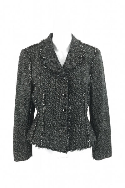 Liz Claiborne, Women's Black And White Jacket - Size: 10 (Regular)