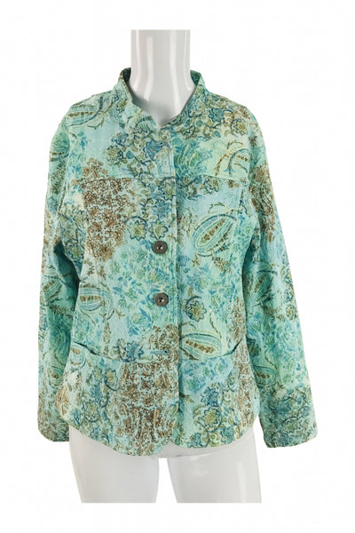 Analog, Women's Teal And Brown Floral Coat - Size: 12 (Petite)