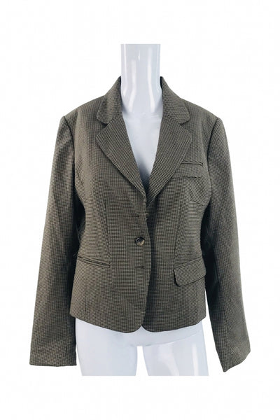 H&M, Women's Beige And Brown Jacket - Size: 12 (Regular)