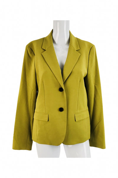 Nine West, Women's Yellow  Notched Lapel Blazer - Size: 10 (Regular)