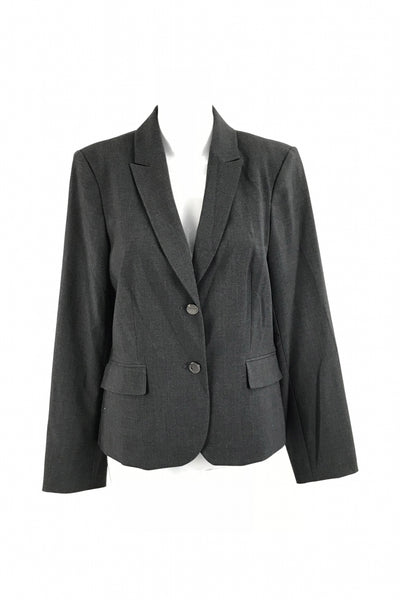 Calvin Klein, Women's Grey Notched Lapel 2-button Suit Jacket With Flap Pockets - Size: 10 (Regular)