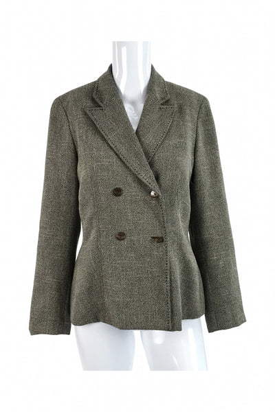 DressBarn, Women's Brown  Notched Lapel Double-breasted Blazer - Size: 4 (Regular)