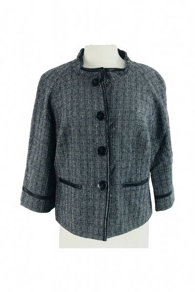 Jones New York, Women's Black And Gray Button-up Formal Jacket - Size: 12 (Regular)