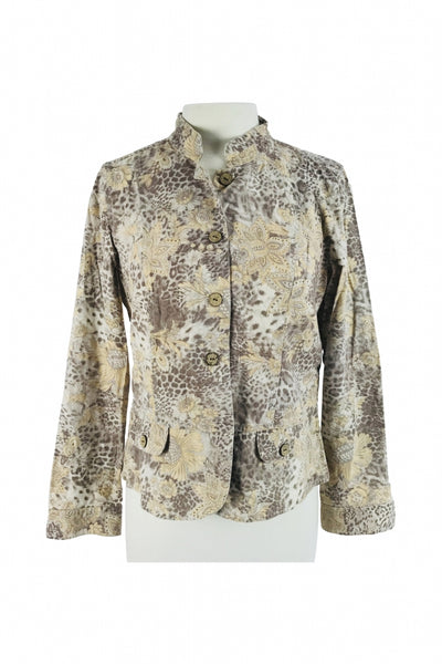 Christopher & Banks, Women's Brown, Grey, And Beige Button-up Jacket - Size: M (Regular)