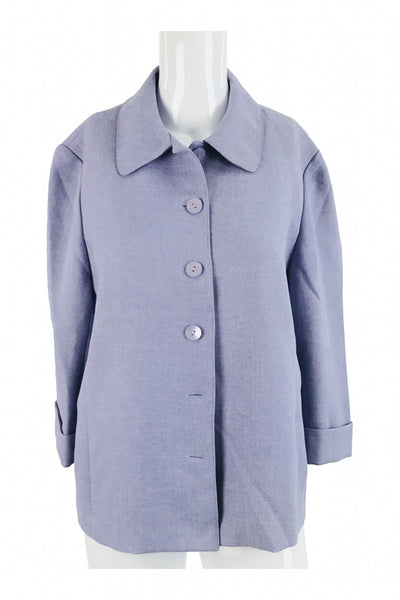 Alfred Dunner, Women's Gray Button-up Coat - Size: 14 (Petite)