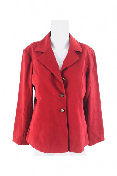 Drapers & Damon, Women's Red Notched Lapel Suit Jacket - Size: 8 (Regular)