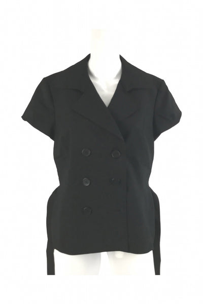 Nine West, Women's Black Double-breasted Cap-sleeved Jacket - Size: 12 (Regular)