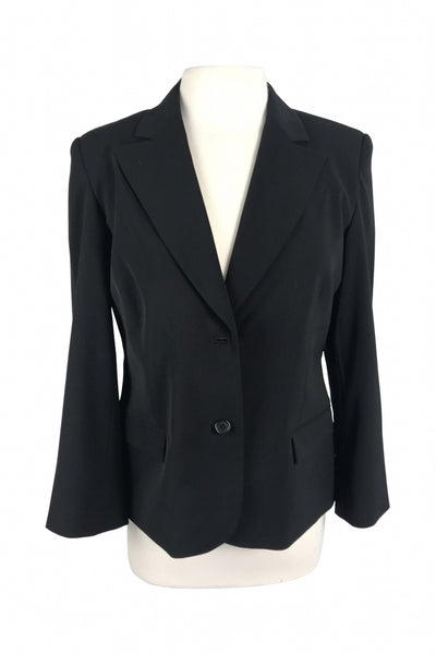 Context, Women's Black Notched Lapel Suit Jacket - Size: 12 (Petite)