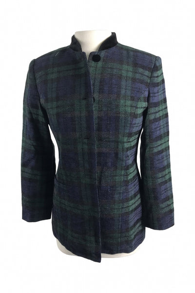Talbots, Women's Men's Green, Blue, And Black Coat - Size: 6 (Regular)