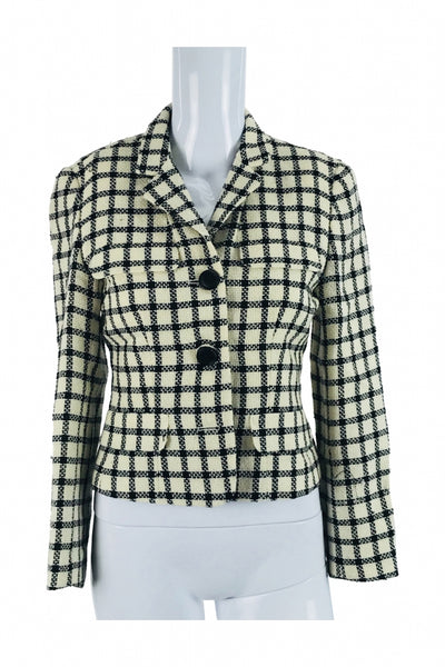 Ann Taylor, Women's Beige And Black Gingham 2-button Jacket - Size: 2 (Petite)