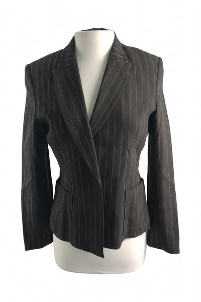 Kenar, Women's Brown And White Pinstripe Notched Lapel 1-button Blazer - Size: 4 (Regular)