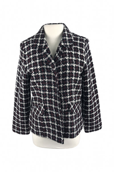 DressBarn, Women's Black And White Plaid Blazer - Size: 14 (Regular)