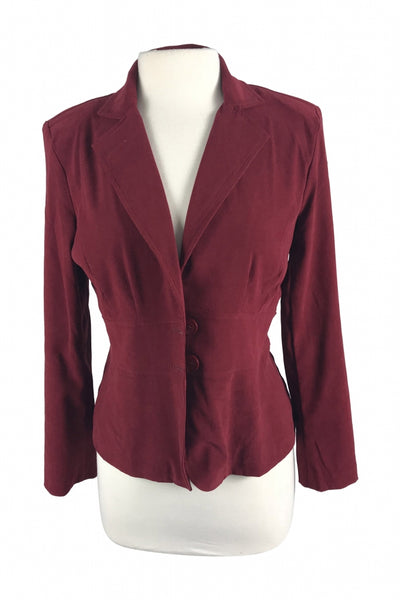 Notations, Women's Maroon Notched Lapel Blazer - Size: S (Regular)
