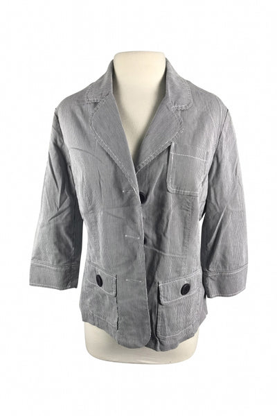 Vanheusen, Women's Gray And White Button-up Jacket - Size: L (Regular)