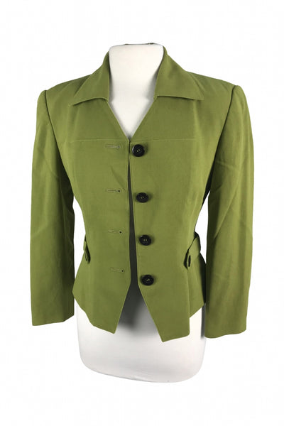 Dana Buchman, Women's Green Button-up Coat - Size: 4 (Regular)