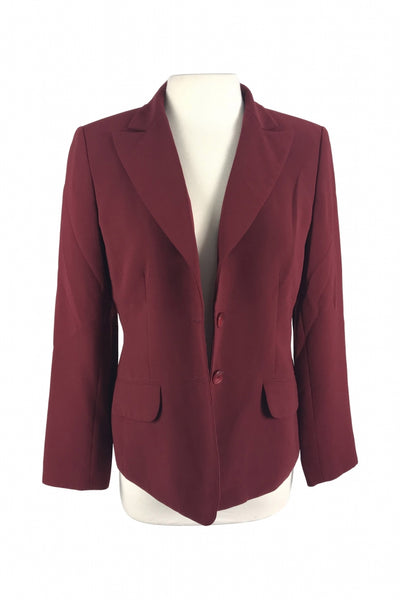 Kasper, Women's Maroon 2-button Blazer - Size: 8 (Regular)