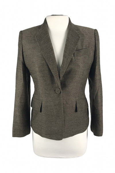 Anne Klein, Women's Brown Notched Lapel Blazer - Size: 4 (Petite)