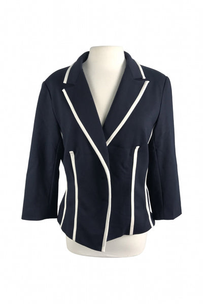 New York & Company, Women's Black And White Notched Lapel Suit Jacket - Size: XL (Regular)