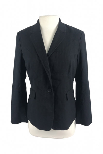 Banana Republic, Women's Black Notched Lapel 1-button Suit Jacket - Size: 12 (Regular)