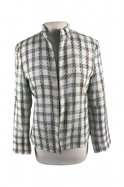 Norton McNaughton, Women's White And Black Plaid Jacket - Size: 10 (Regular)