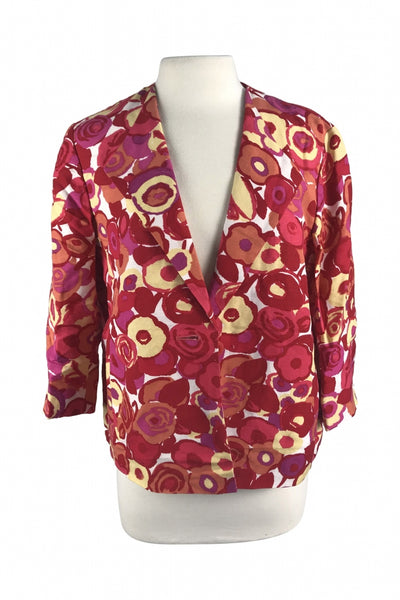 Kasper, Women's Red And Yellow Floral Blazer - Size: 12 (Regular)