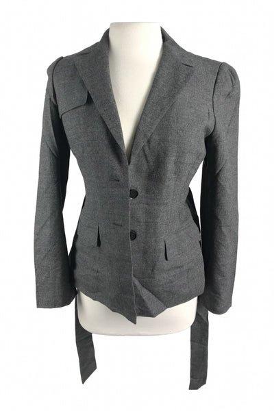 Ann Taylor LOFT, Women's Gray Button-up Blazer - Size: 6 (Regular)