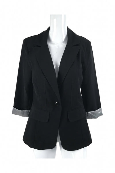 Iz Byer, Women's Black 1-button Blazer - Size: M (Regular)