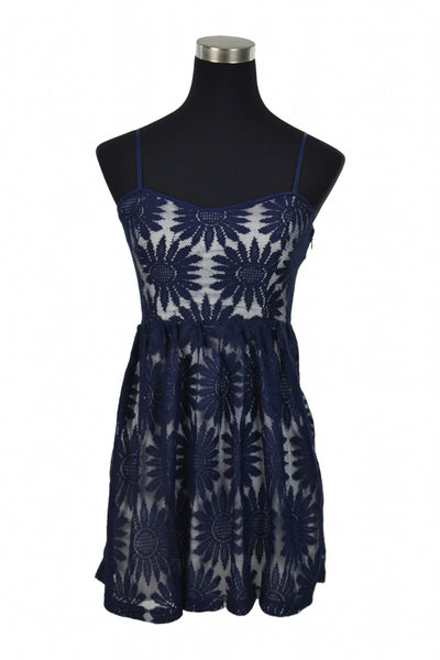 Delias, Women's Blue  Floral Spaghetti Strap Dress - Size: 8 (Regular)