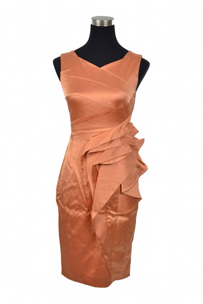 Karen Millen, Women's Orange V-neck Sleeveless Dress - Size: 6 (Regular)