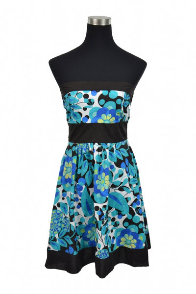 Speechless, Women's Blue, Black, And White Floral Strapless Dress - Size: 8 (Regular)