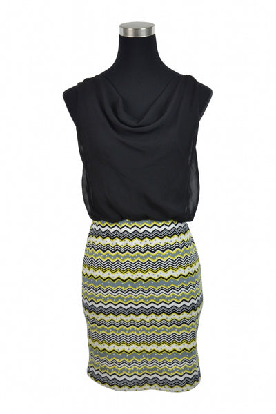 Ruby Rox, Women's Black, Yellow, White, And Green 2-toned Tribal Print Sleeveless Fitted Dress - Size: S (Regular)