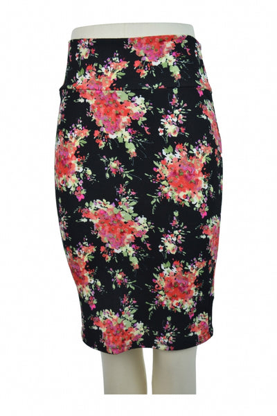 Lula Roe, Women's Black And Red Floral Skirt - Size: XS (Regular)