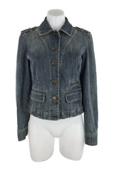 City, Women's Blue  Button-up Jacket - Size: 4 (Regular)