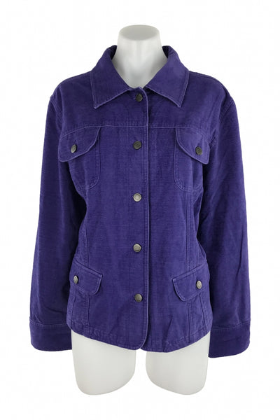 J.jill, Women's Blue  Button-up Long-sleeved Jacket - Size: XL (Regular)