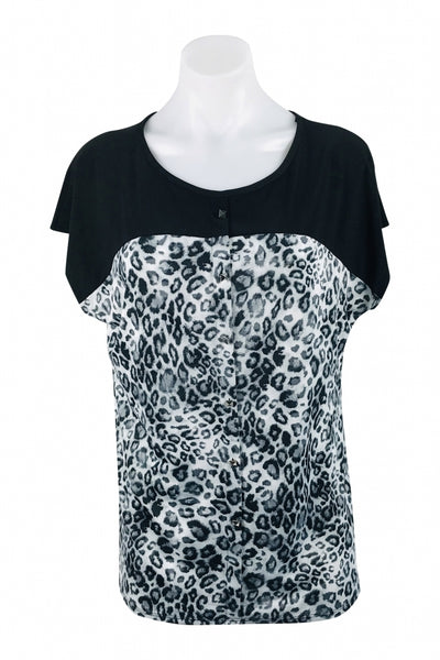Crol Rose, Women's Black And White Leopard Print Scoop-neck Top - Size: L (Regular)