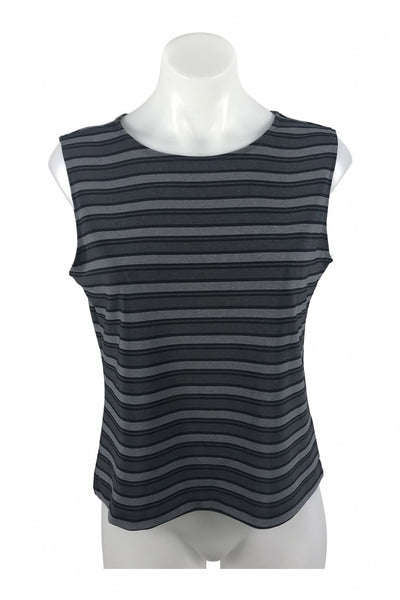 Petite Sophisticate, Women's Black And Grey Stripe Sleeveless Top - Size: S (Regular)