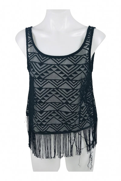Unbranded, Women's Black And Gray Sleeveless Top - Size: L (Regular)